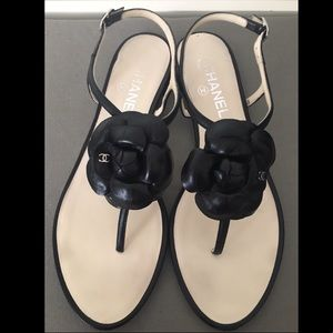 Chanel Camellia Black lambskin sandals EU 39.5